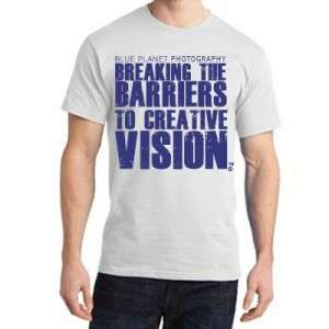 Breaking Barriers to Creative Vision t-shirt, white with blue text