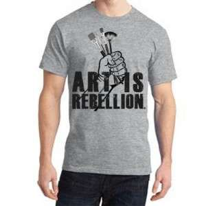 Art Is Rebellion t-shirt with brushes